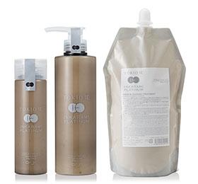 TOKIO IE INKARAMI PLATINUM TREATMENT (トキオ インカラミ)  トキオプラチナラインのホームケアトリートメント。  3種類のケラチンによって髪にコシと補修効果を与えサロンでのトキオトリートメントの効果を持続してくれます。